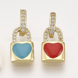 Brass Micro Pave Cubic Zirconia Charms US-ZIRC-S061-104