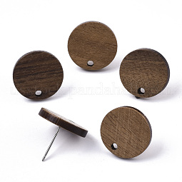 Walnut Wood Stud Earring Findings US-MAK-N033-008