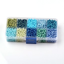 Mixed Pearlized Round Glass Pearl Beads US-HY-D0004-8mm-B