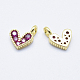 Brass Micro Pave Cubic Zirconia CharmsUS-RB-I078-66G-NR-2
