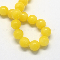 Natural Dyed Yellow Jade Gemstone Bead Strands US-G-R271-8mm-Y07