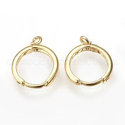 Brass Huggie Hoop Earring Findings US-KK-R058-143G