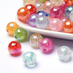 Bubblegum AB Color Transparent Crackle Acrylic Round Beads US-CACR-R011-10mm-M