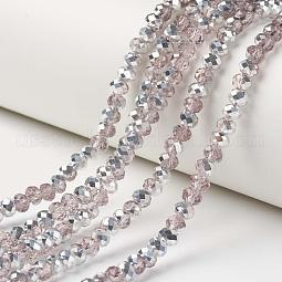 Electroplate Transparent Glass Beads Strands US-EGLA-A034-T10mm-M08