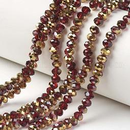 Electroplate Transparent Glass Beads Strands US-EGLA-A034-T10mm-O07