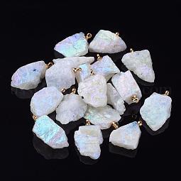 Electroplate Natural Moonstone Pendants US-G-I216-07E