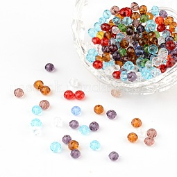 Faceted Rondelle Transparent Glass Beads US-GLAA-R152-4mm-M1