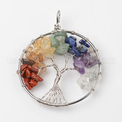 Tree of Life Mixed Stone Big PendantsUS-G-L455-D05-1