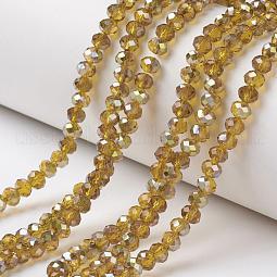 Electroplate Transparent Glass Beads Strands US-EGLA-A034-T10mm-S02