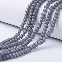 Electroplate Transparent Glass Beads Strands US-EGLA-A034-T10mm-W02