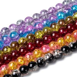 Two Tone Crackle Glass Beads Strands US-CCG-Q002-8mm-M