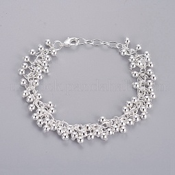 Silver Color Plated Brass Ball Charm Bracelets For Women US-BJEW-BB12451