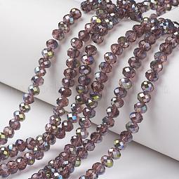 Electroplate Transparent Glass Beads Strands US-EGLA-A034-T10mm-S08