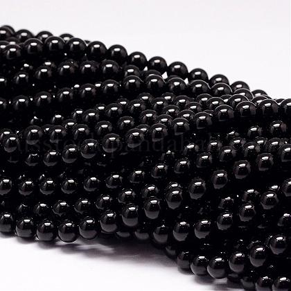 Natural Black Tourmaline Beads StrandsUS-G-P132-16-8mm-1
