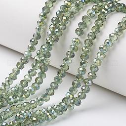 Electroplate Transparent Glass Beads Strands US-EGLA-A034-T8mm-S11