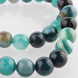 Natural Gemstone Agate Round Bead Strands US-G-E233-10