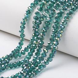 Electroplate Transparent Glass Beads Strands US-EGLA-A034-T8mm-S13