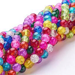 Crackle Glass Beads Strands US-GGM003