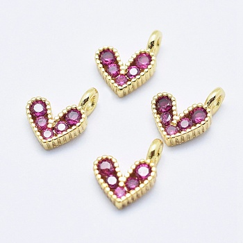 Brass Micro Pave Cubic Zirconia Charms, Long-Lasting Plated, Lead Free & Nickel Free & Cadmium Free, Heart, Hot Pink, Real 18K Gold Plated, 9.5x6.5x2mm, Hole: 1mm