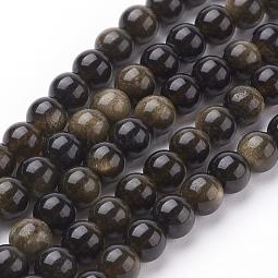 Natural Golden Sheen Obsidian Beads Strands US-G-C076-6mm-5