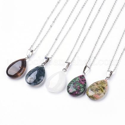 Natural & Synthetic Gemstone Pendant NecklacesUS-NJEW-JN02160-1
