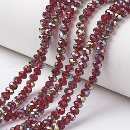 Electroplate Transparent Glass Beads Strands US-EGLA-A034-T6mm-S14