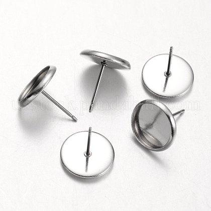 Flat Round 304 Stainless Steel Stud Earring SettingsUS-STAS-M227-10mm-1