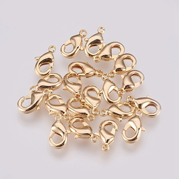 Brass Lobster Claw Clasps, Nickel Free, Real 18K Gold Plated, 9x5x3mm, Hole: 1mm