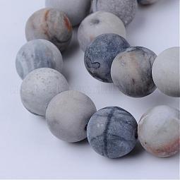 Natural Picasso Stone/Picasso Jasper Beads Strands US-G-Q462-8mm-02