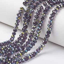 Electroplate Transparent Glass Beads Strands US-EGLA-A034-T8mm-S07