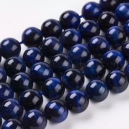 Natural Blue Tiger Eye Beads Strands US-G-G099-10mm-13