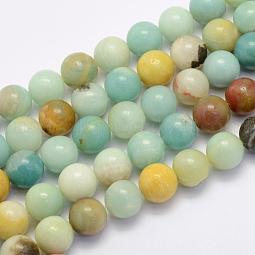 Natural Flower Amazonite Beads Strands US-G-G697-F06-8mm