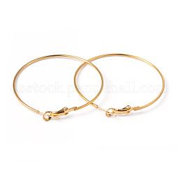Golden Brass Earring Findings Hoops US-X-EC108-4NFG