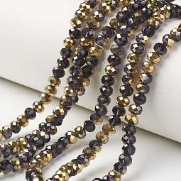 Electroplate Transparent Glass Beads Strands US-EGLA-A034-T10mm-O16