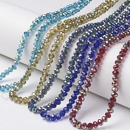 Electroplate Transparent Glass Beads Strands US-EGLA-A034-T6mm-S