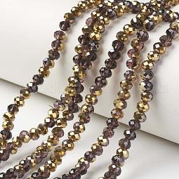 Electroplate Transparent Glass Beads Strands US-EGLA-A034-T10mm-O11