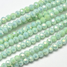 Faceted Round Full Rainbow Plated Electroplate Glass Beads Strands US-EGLA-J130-FR02