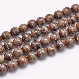 Natural Tibetan Striped Pattern dZi Agate Beads Strands US-G-F354-13