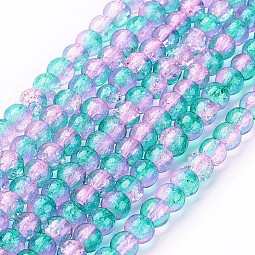 Spray Painted Crackle Glass Beads Strands US-CCG-Q002-4mm-06