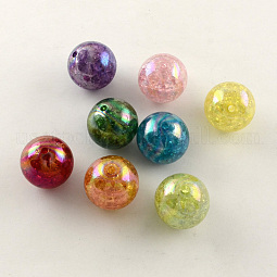 AB Color Transparent Crackle Round Acrylic Beads US-CACR-S006-M