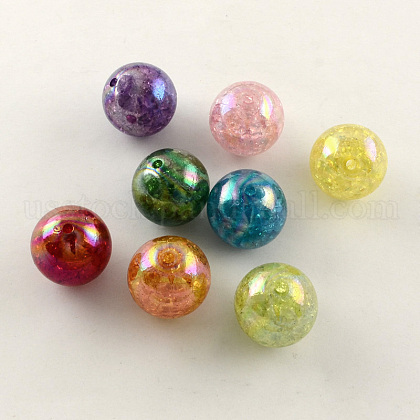 AB Color Transparent Crackle Round Acrylic BeadsUS-CACR-S006-M-1