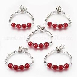 Alloy Charm Stretch Bracelets US-BJEW-MSMC002-30AS